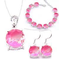 Lovely Purple Pink Bi Colored Tourmaline Gems Vintage Silver Necklace Pendants