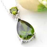 Classical Multi Round Natural Olive Peridot Gems Silver Cross Necklace Pendants