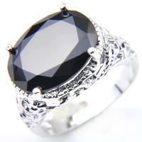 Handmade European Oval Cut Black Onyx Gemstone Silver Woman Ring US Size 7 8 9