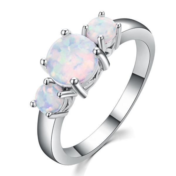 Runde 3x Klassische Runde Fire White Opal Gemstone Silber Frau Ring Größe 6 10   eBay