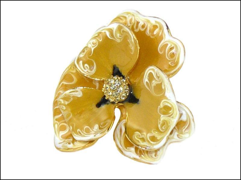 Jay Lane Rose Yellow Enamel Crystal Flower Ring KJL Size 5 9