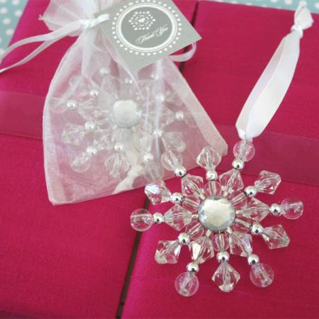Beaded Snowflake Ornaments Winter Wedding Favors