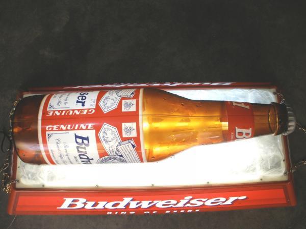 details about vintage budweiser iced beer bottle pool table light. Black Bedroom Furniture Sets. Home Design Ideas