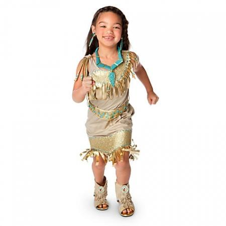 Pocahontas Costume Disney Store Indian Dress Up with Shoes Jewelery    Pocahontas Disney Costume Child