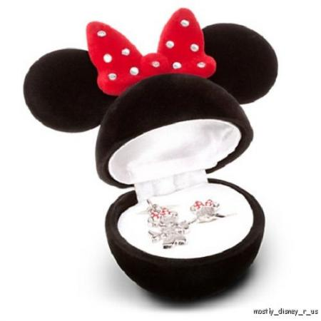 New disney store minnie mouse charm ring necklace set for Minnie mouse jewelry box