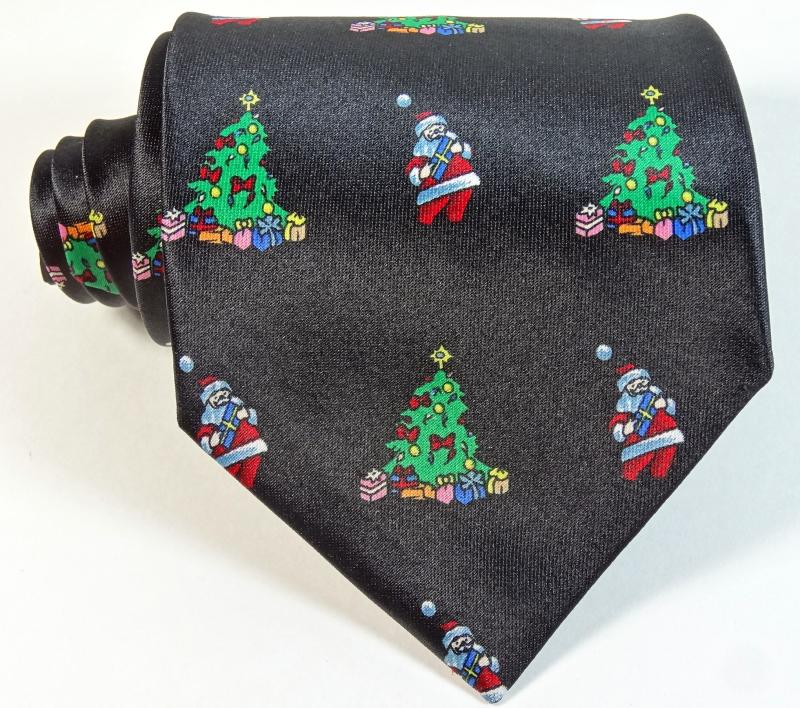 Cheap Christmas Tie Holiday Black Tree Santa Claus Xmas ...