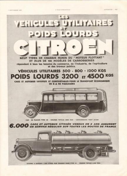 1933 publicite automobile poids lourds citroen camions autobus ebay. Black Bedroom Furniture Sets. Home Design Ideas