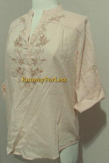 Lucky Brand Clothing Womens Medium Orange Embroidery Flower VNeck Top Blouse