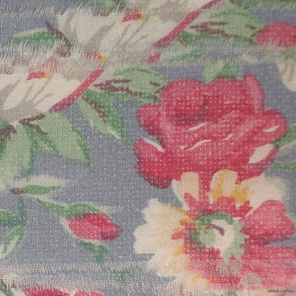 f39 muslin shabby french blue pink roses ribbon fabric