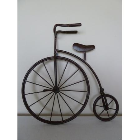 Wrought iron penny farthing high wheel bicycle metal wall for Bicycle wheel wall art
