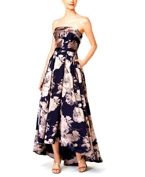 0637ca5f159 NWT  273 Xscape Strapless Jacquard Floral Woven High-Low Dress Sz 0 ...