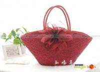 Women Fashion Beach Flower Straw Tote Shoulder Bag #436
