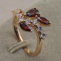 Size 6.5~8.5 Handmade Red Garnet Fashion Jewelry Gift Gold Filled Ring rj2256