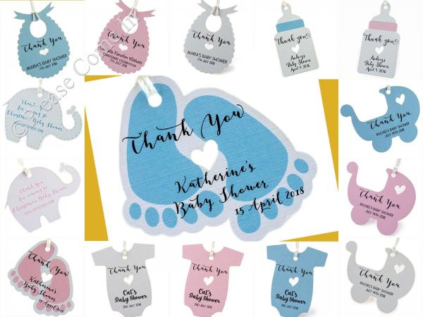 Personalised Baby Gift Tags Uk : Pink blue personalised baby shower favour tags thank you