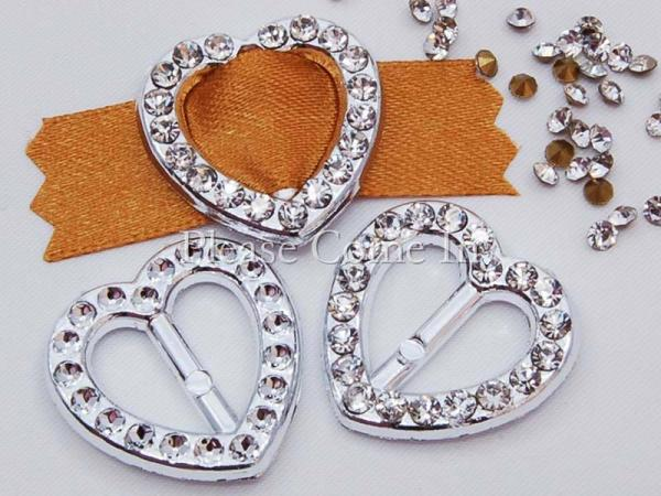 DIY 20 Acrylic Heart Ribbon Buckles with Rhinestone #1