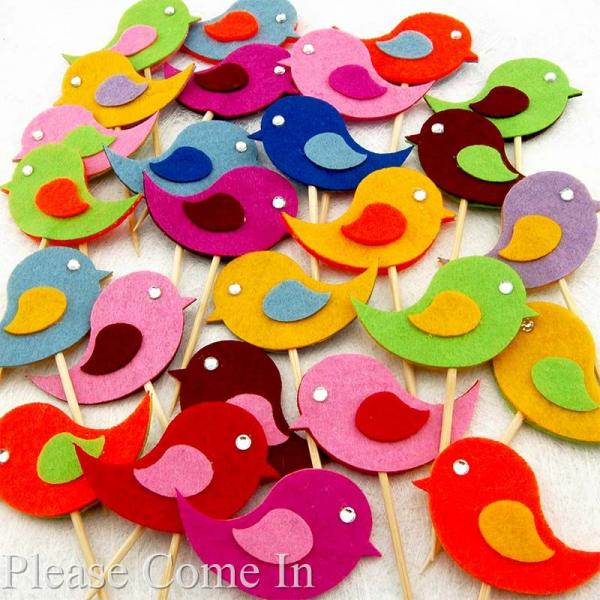 Baby Shower Cupcake Picks Decoration : 10 Felt Bird Cupcake Topper Cake Decorations / Picks for ...