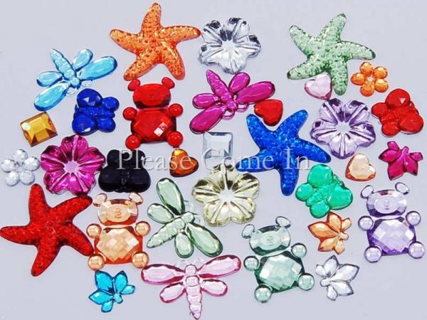 100 Acrylic Jewel Mixed Design/Colours Scrapbooking
