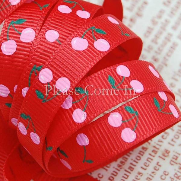 5m Grosgrain Ribbon Red Cherry 10mm 3/8