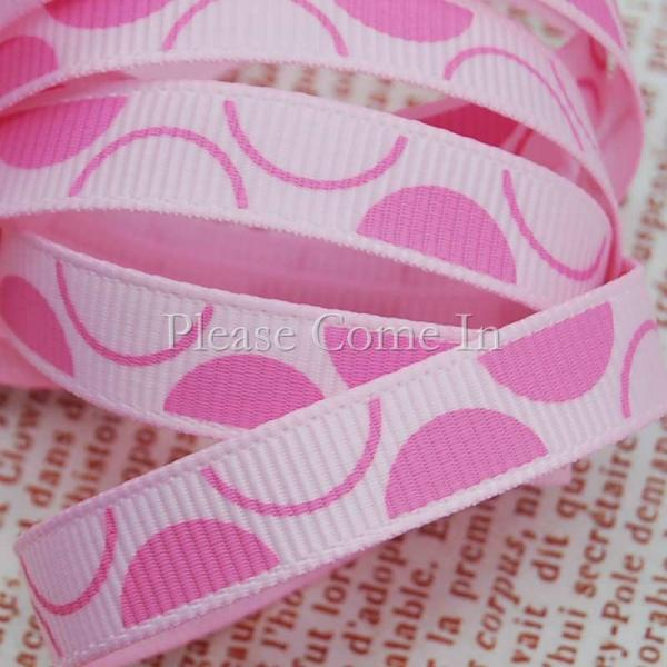 5mtrs Grosgrain Ribbon Baby Pink Semi Circle 10mm 3/8