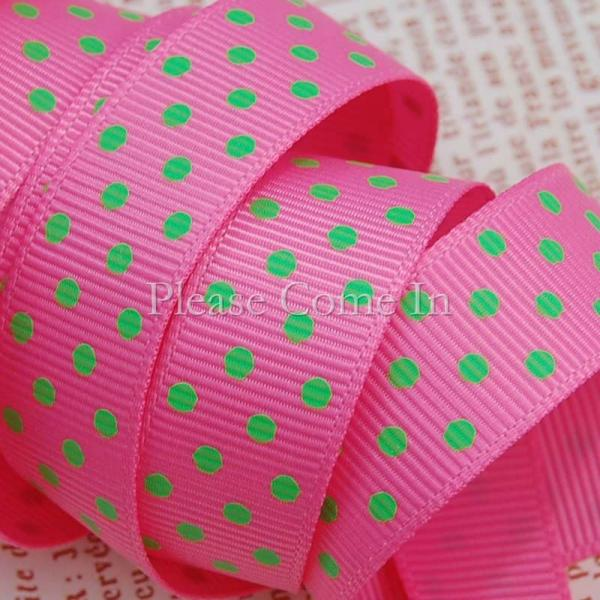 5m Grosgrain Ribbon Pink Swiss Dot 16mm 5/8