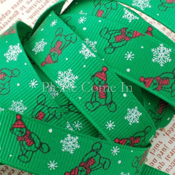 5m Grosgrain Ribbon Christmas Teddy Green 16mm 5/8