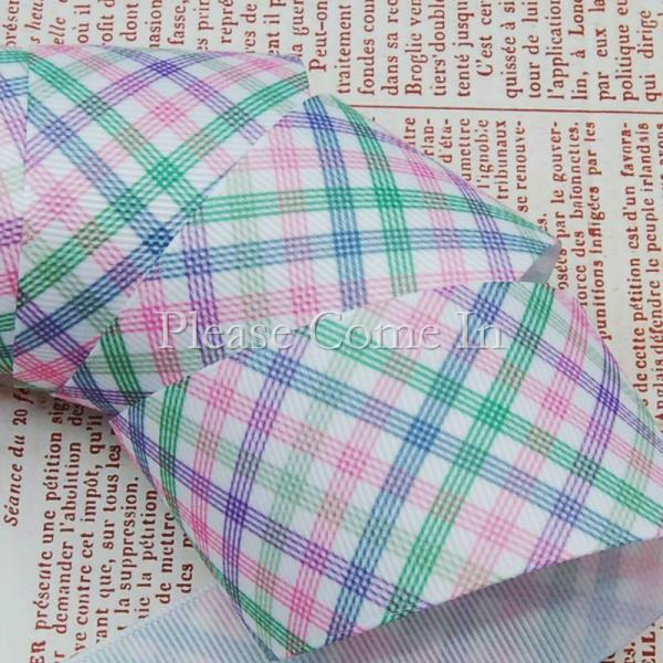 5 meters Grosgrain Ribbon White Tartan Design 38mm (1-1/2