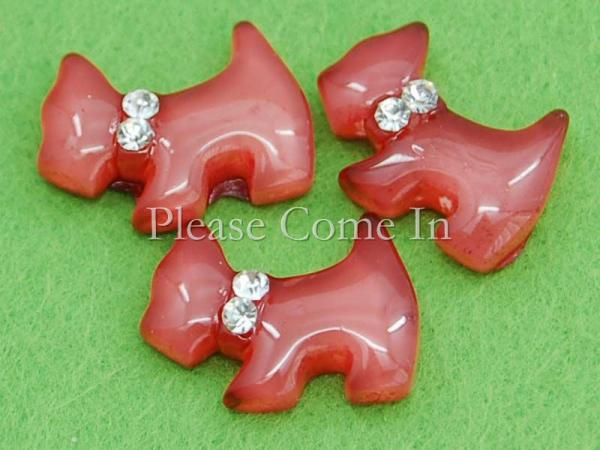 20 Kawaii Resin Dog Cabochons DIY Hair Clips Burgundy