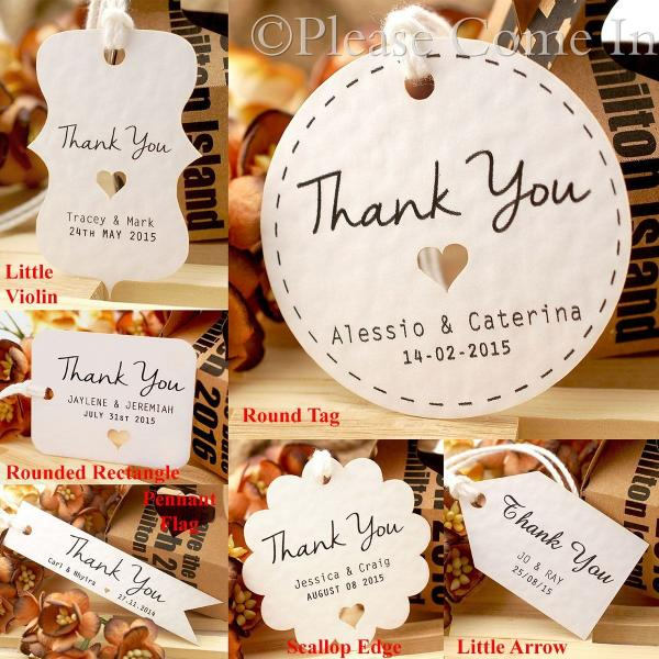 Personalised White Wedding Favour Tags/ Thank You Tag/ Gift Tag with ...