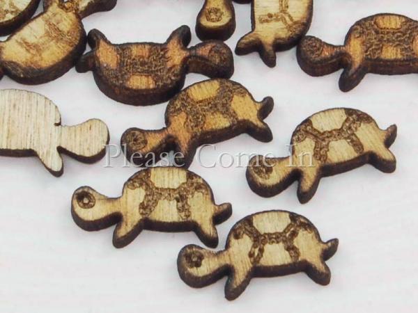 100 Wooden Tortoise Scrapbooking Embellishment
