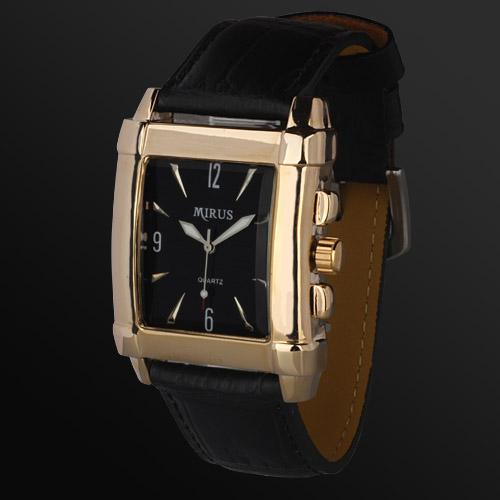 Gold Tone Black Leather Band Quartz Style Man Mens Wrist Watch
