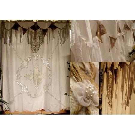 Vintage Burlap Curtains Antique Boho Shabby Rustic Chic Lace Shower Curtain
