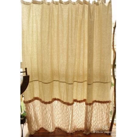 80 Linen Shower Curtain Shabby Natural Chic French Country Cream Flower Ruffle Ebay