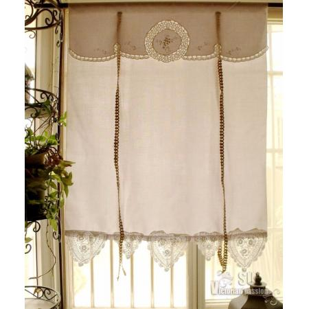 French Country Vtg Tatted Lace Tie Up Valance Curtain