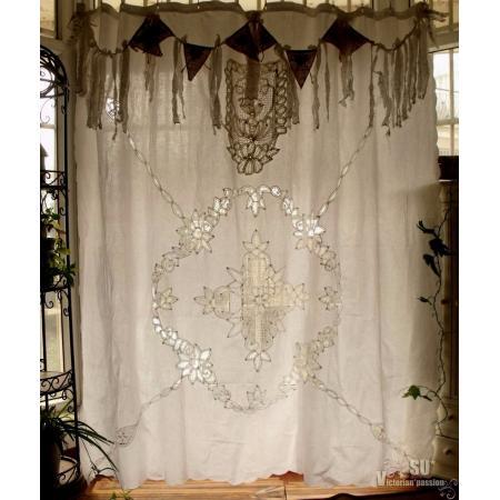 Antique Boho Shabby Rustic Chic Burlap Lace Shower Curtain