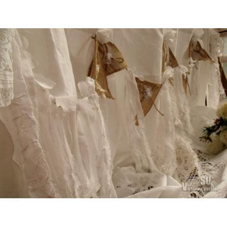 Antique Boho SHABBY Rustic Chic Burlap Lace SHOWER Curtain Fringe ...