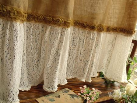 Chic burlap shower curtain lace ruffles flower french country ebay