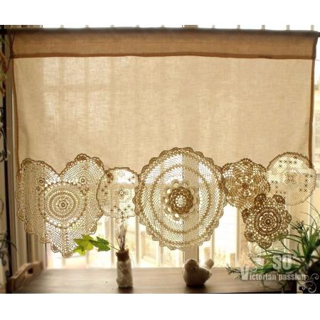 BOHO Vintage Crochet Doilies Shabby French Chic Window Cafe ...