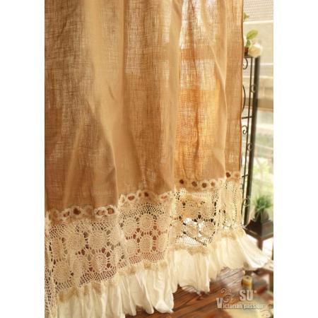 Bohemian Hand Crochet - SHABBY Rustic Chic Burlap SHOWER Curtain ...