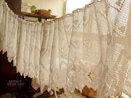 Long18 X200 Hand Crochet Vtg Lace Valance Curtain French Chic White Cotton Rare Ebay