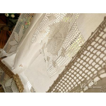 HAND CROCHET- SHABBY Rustic Chic Burlap SHOWER Curtain Lace ...