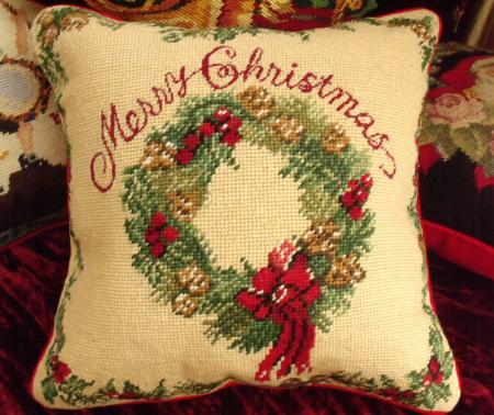 Vtg Needlepoint Pillow Cushion Merry Christmas Christmas