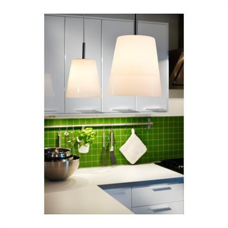 Brand New Ikea Basisk White Glass Pendant Ceiling Lamp Kitchen Nickel W Bulb Ebay