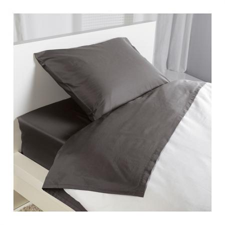 ikea oleby fitted sheet set 100 cotton full size dark gray ebay. Black Bedroom Furniture Sets. Home Design Ideas
