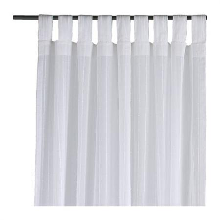 ikea matilda curtains white window drapes 2 panels ebay. Black Bedroom Furniture Sets. Home Design Ideas