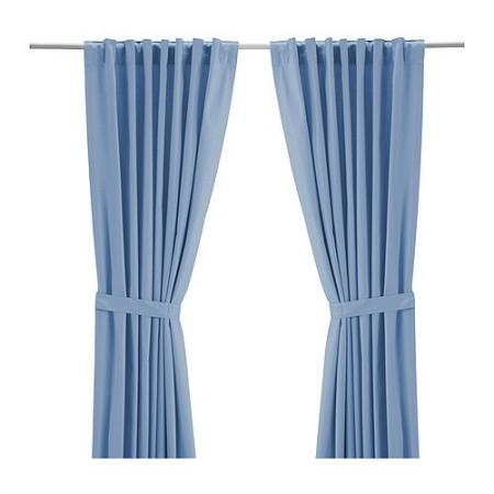 New ikea ritva window curtains 57x98 drape 2 panels brown - Brown and light blue curtains ...