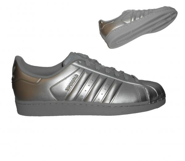 Uomo Adidas Leather Superstar II Argento Bianco scarpe da