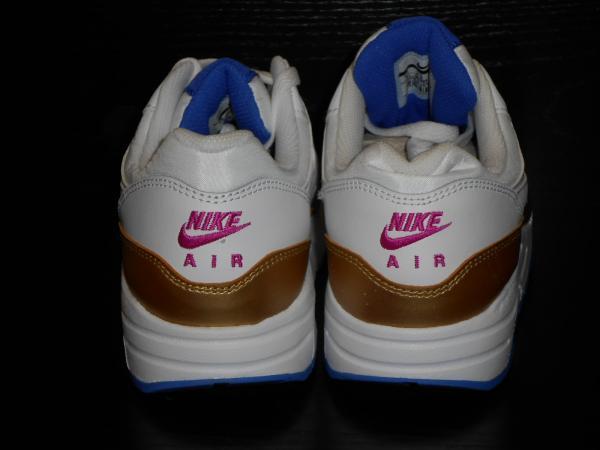 Details zu Nike Air Max 1 Jungen Mädchen Größe 4.5 Weiß Erfüllt Gold