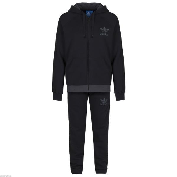 Details zu Adidas Originals Herren Fleece Trainingsanzug Trefoil Größe S M L XL Blau Grau