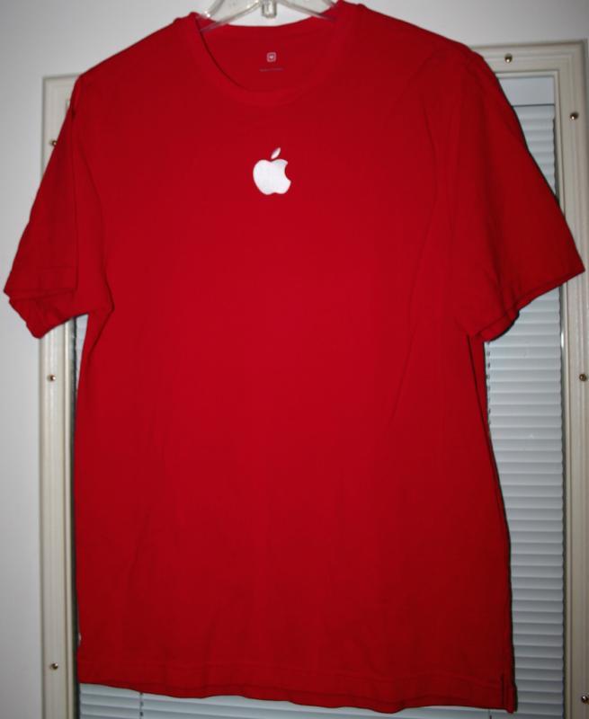 Apple store employee logo t shirt tee holiday embroidered for Employee shirts embroidered logo