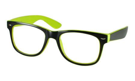 Bright Green Eyeglass Frames : New FUNKY Black & Bright Neon Green Geek Clear Lens ...